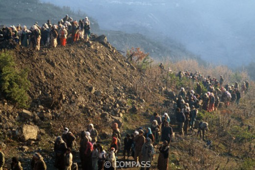 Kurds fleeing into the mountains in 1991