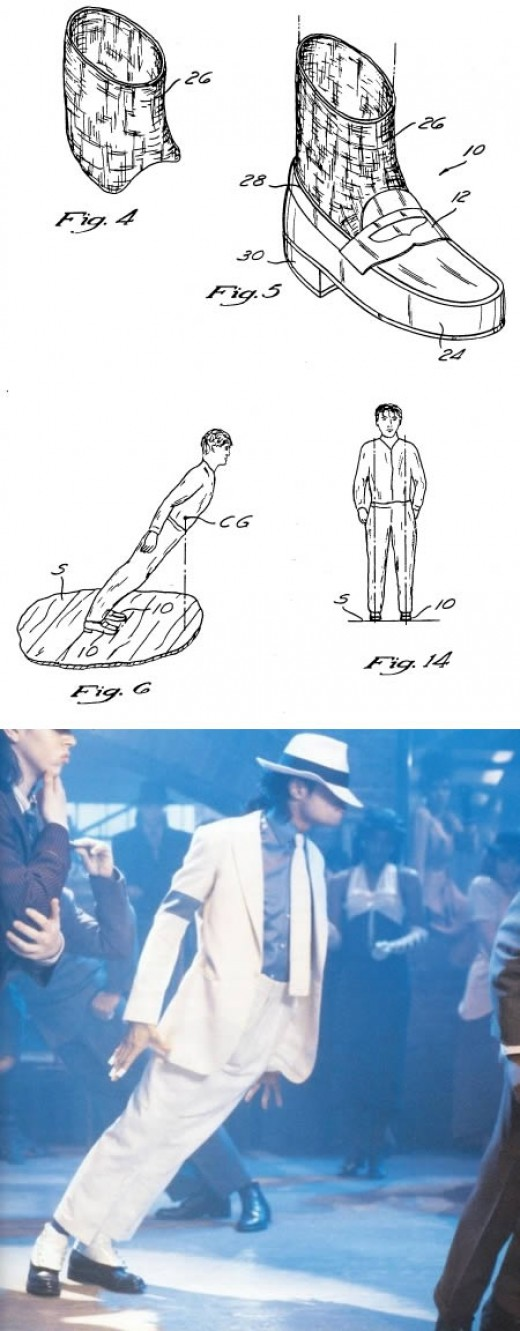 "Michael Jackson invented and patented special boots that allowed the wearer to lean so far forward that it seems to defy gravity. He used this for the famous ""lean"" in the ""Smooth Criminal"" music video. US Patent 5255452"