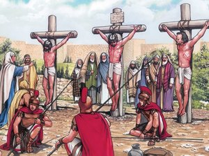 The crucifixion of Jesus and the two thieves.