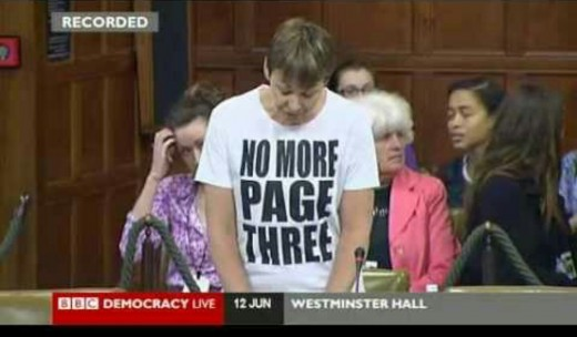 Caroline Lucas- British Politician campaigning at Westminster in bid to ban page 3.