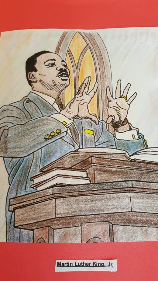"I colored this picture of Martin Luther King Jr. by using a page from ""Great African Americans Coloring Book""."