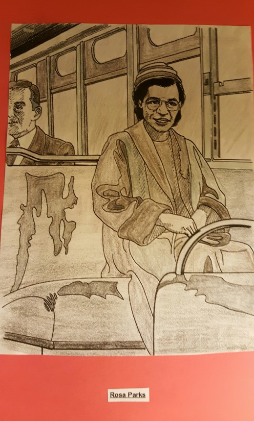 "I colored this picture of Rosa Parks by using a page from ""Great African Americans Coloring Book""."