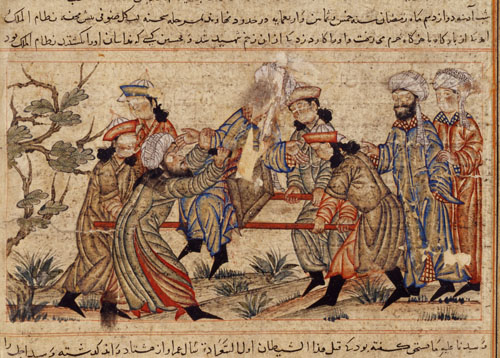 A 14th-century painting depicting the killings of Nizam al-Mulk, vizier of the Seljuq Empire.