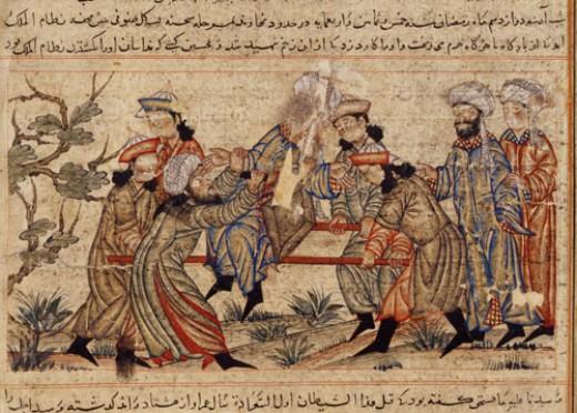 A 14th-century painting depicting the killings of Nizam al-Mulk, vizier of the Seljuq Empire.