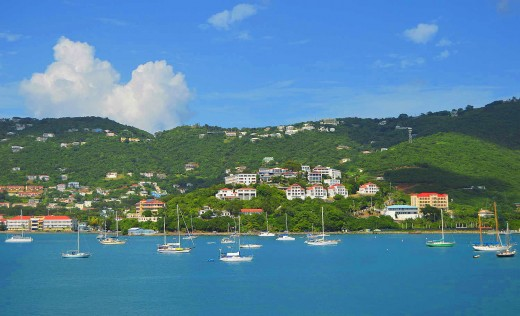 St. Thomas cruise visitors will see one of the most beautiful ports in the Caribbean. Copyright 2017 Scott Bateman