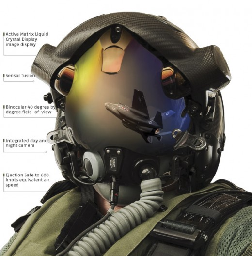 The futuristic flight helmet of the an F-35 pilot.