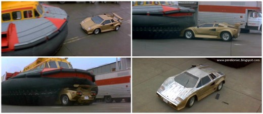 The film's imaginative action scenes such as this sequence between a hovercraft and a Lamborghini Countach are great fun to watch