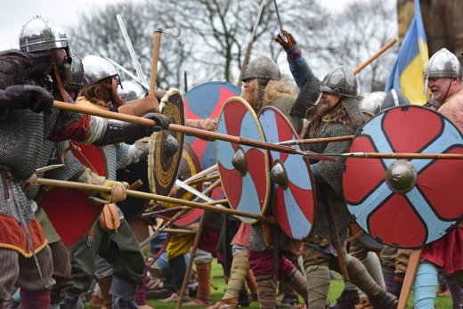 Battle staged on the green at York Castle between the Northumbrian Angles, and Danes led by Ragnar Lothbrok's sons