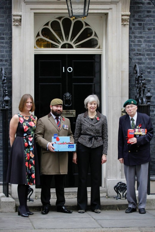 Theresa May outside No 10 with military friends