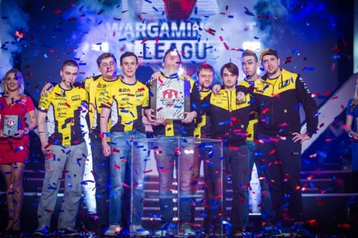 2016 World of Tanks Grand Finals winners Na'Vi are awarded the coveted trophy.