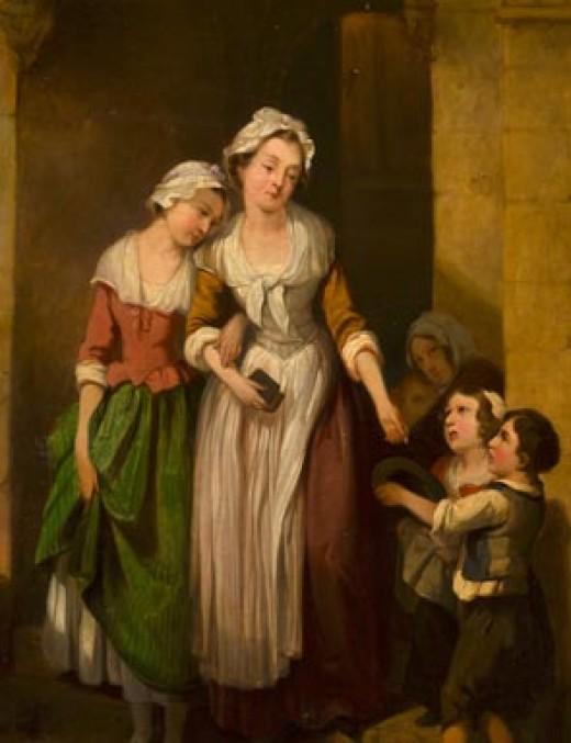 Giving alms to beggar children.