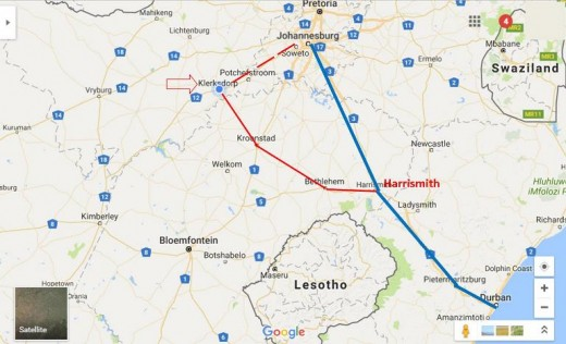 From Johannesburg to Durban