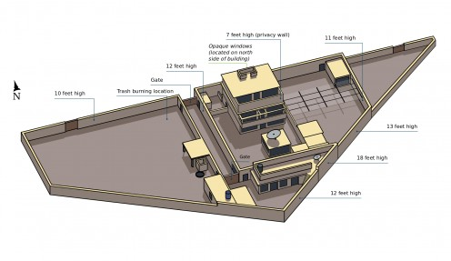 Map of bin Laden's house in Abbottabad Pakistan where he was found and killed by a member of SEAL team six.