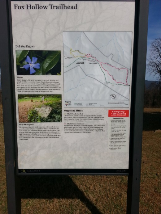 This is the trail information sign that greets hikers at the beginning and end of the trail.