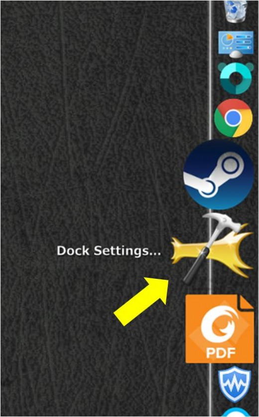 Press the dock settings icon