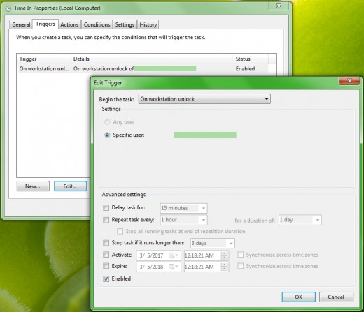 Task Scheduler: Triggers (On workstation unlock)