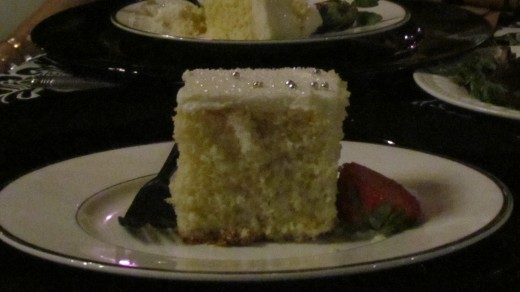 Vanilla cake, with silver toppings and vanilla icing were served for desert