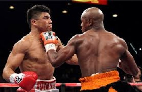 Floyd Mayweather knocked Victor Ortiz out in a welterweight title fight.