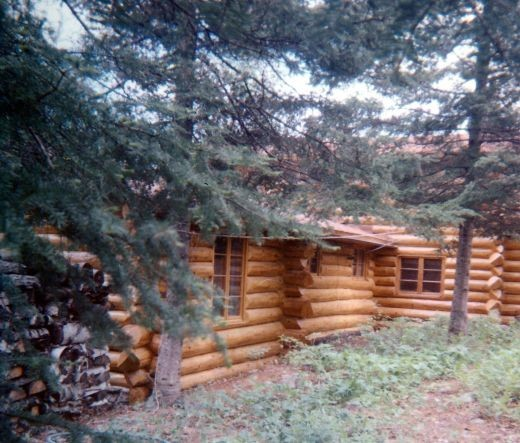 Partial view of Hibbard's cabin on Moose Lake