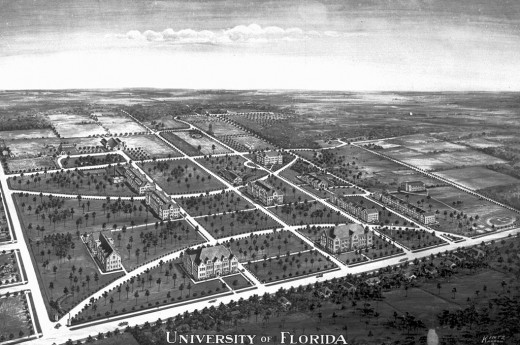 "A view of the UF campus in 1916, looking southwest.  The university has operated on the Gainesville campus since 1906.  Among the  twelve universities of the State University System of Florida, UF is classified as one of two ""preeminent universities"""