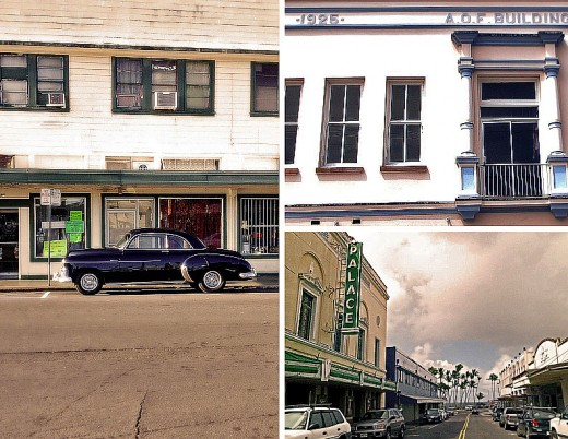Clockwise from left: Classic car on Mamo street; historic A.O.F. building; Palace Theatre on Haili street.