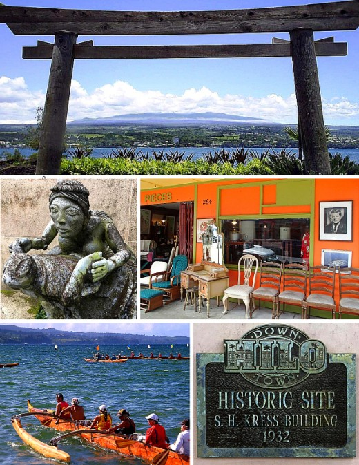 Clockwise from top: Traditional torii gate at Lili'uokalani park; antique shop in downtown Hilo; plaque at historic Kress building; paddlers on Hilo bay; statue at Pacific Tsunami Museum.