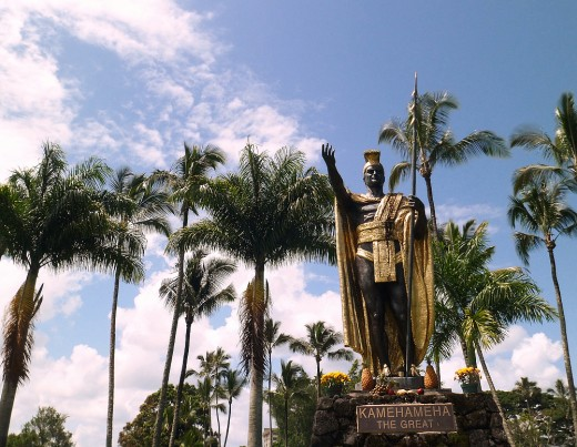 Kamehameha The Great statue at Wailoa park.