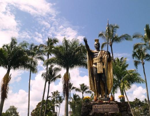 Kamehameha The Great statue at Wailoa park.
