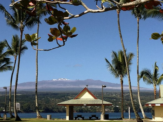 Mauna Kea volcano with snow on its peak.