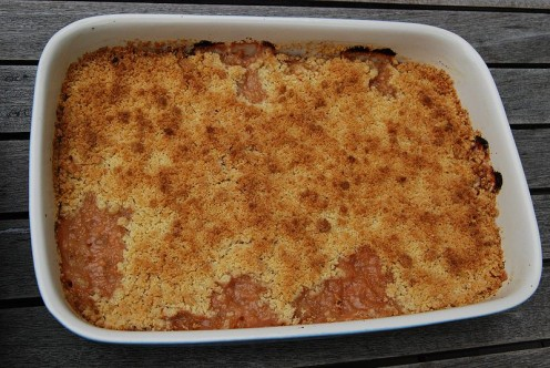 Rhubarb crumble is quick and easy to prepare.
