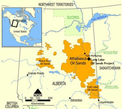 Outlined in orange are the oil sands deposits in Alberta