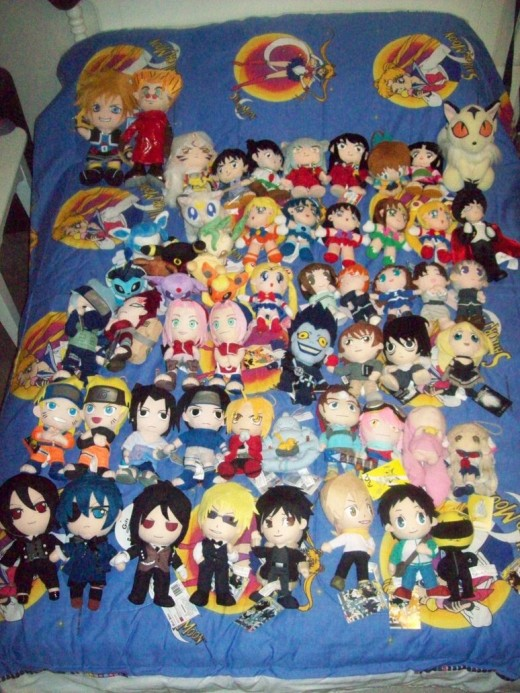 A large selection of anime themed plushies! This one even has one of the ones featured on this page!