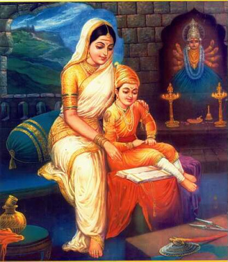 Jijabai telling stories to Shivaji
