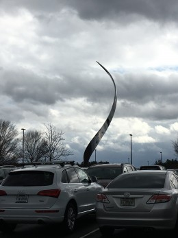 In the middle of the parking lot is this beautiful sculpture.