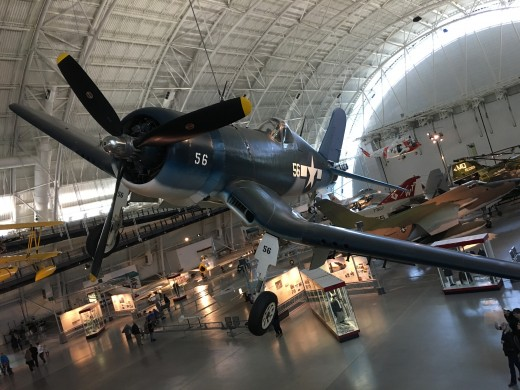 The Corsair is one of the first planes you see when you walk in to the main exhibit area.