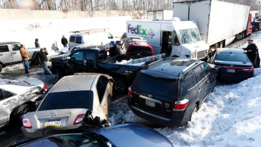 A traffic pileup resulting from a 2014 ice storm in the Southeastern U.S...
