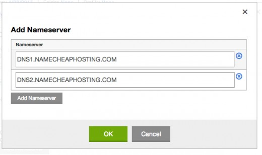 "Enter one nameserver on each line. Click ""OK"", then click ""Save."""