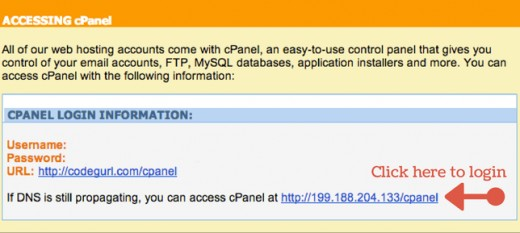 Click your ugly new cPanel URL and use your ugly new username and password to log in