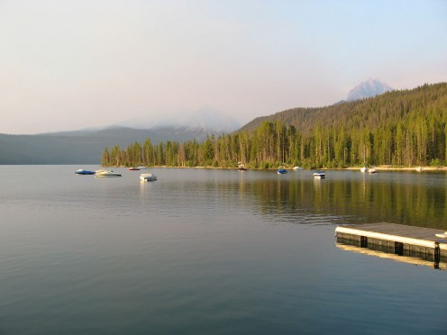 Smoke over Redfish Lake.