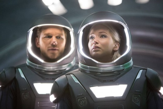 Jim Preston (Chris Pratt) and Aurora Lane (Jennifer Lawrence) in spacesuits.