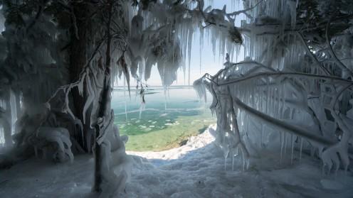 Icy shores of Lake Michigan.
