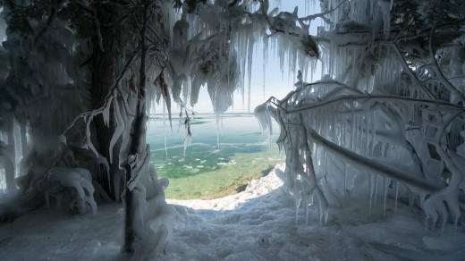 The icy shores of Lake Michigan. This scene makes you shiver with cold.