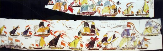 A painted scroll depicting different types of ships of the Marathan Navy including some captured English ships