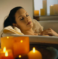 Candles are optional when taking an aromatherapy bath.