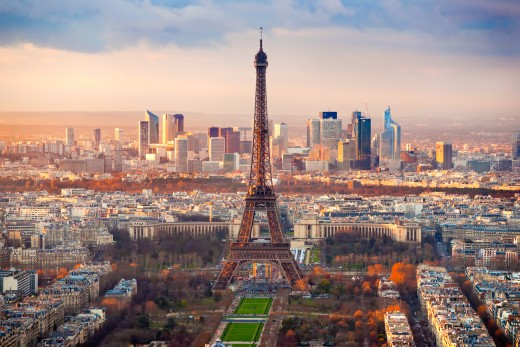 Paris skyline with the Eiffel Tower in the center