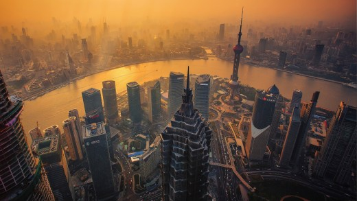 Aerial image of the Shanghai skyline