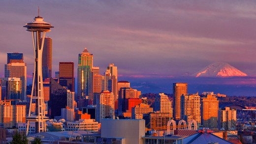 Evening image of Seattle Skyline