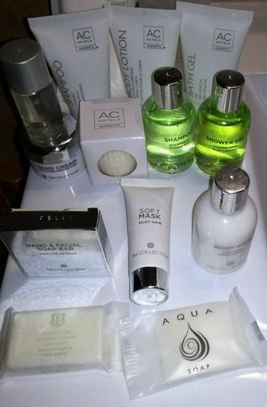 Various room amenities from different hotels
