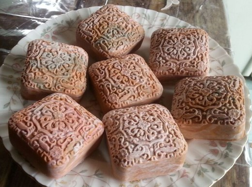 Rose scented soap from molds