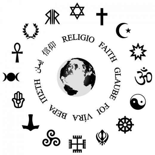 Different symbols of multiple religions.
